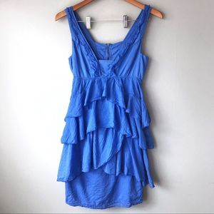 Zara Basic Blue Tiered Ruffle Mini Dress